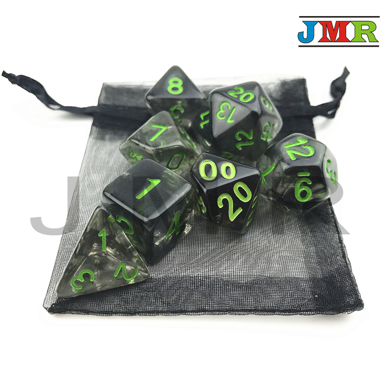 Nebular 7pcs/set  Juegos De Mesa Dados Black Dice Set Of D4 D6 D8 D10 D10% D20 For Dungeons And Dragons Rpg Board Game