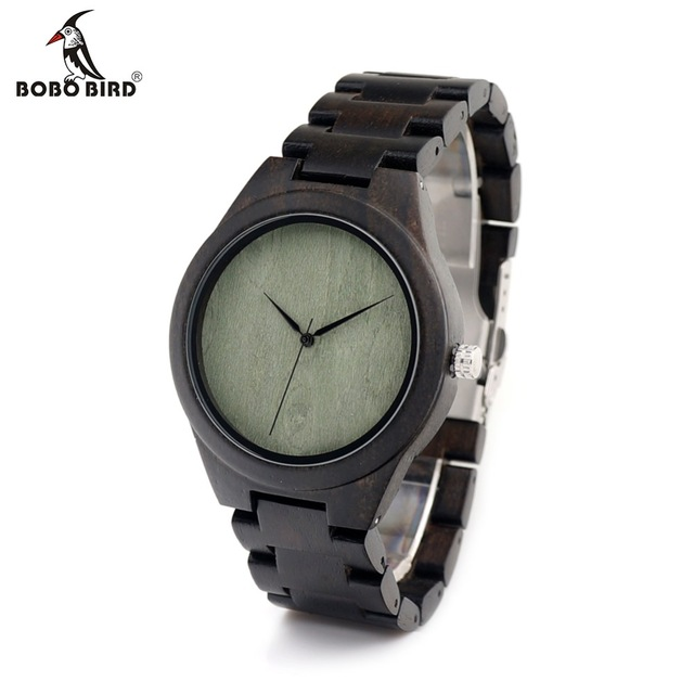 BOBO BIRD Watch Brand Designer Green Wood Dial Bamboo Wooden Strap Quartz Watches for Men With Japanese Movement In Gift Box
