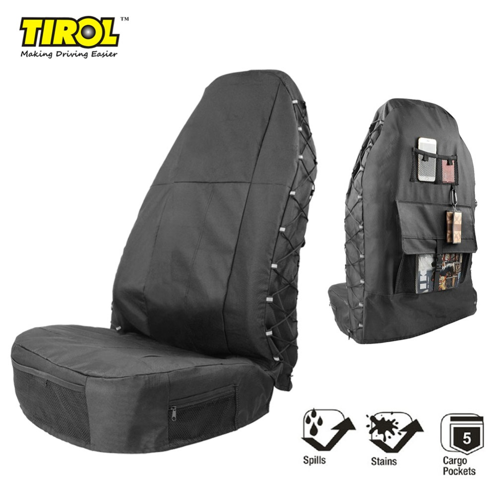 TIROL Black Waterproof Universal Car Bucket Seat Cover Multi-Pockets Organizer Storage Holder Protector 1 37l telescopic bucket car storage portable plastic foldable water bucket container car organizer black blue