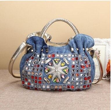 Free shipping New Vintage Hobos Fashion bolsa feminina Diamonds Denim Jean Women HandBags Evening Bags Tote For Female