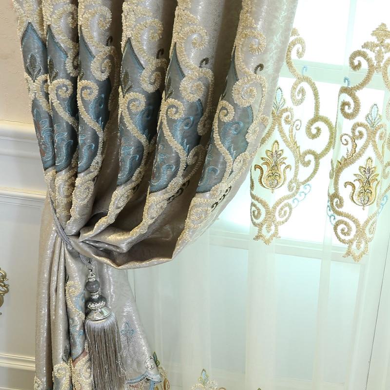 Купить с кэшбэком High grade European style luxury curtain cloth shading finished landing curtain Curtains for Living Dining Room Bedroom