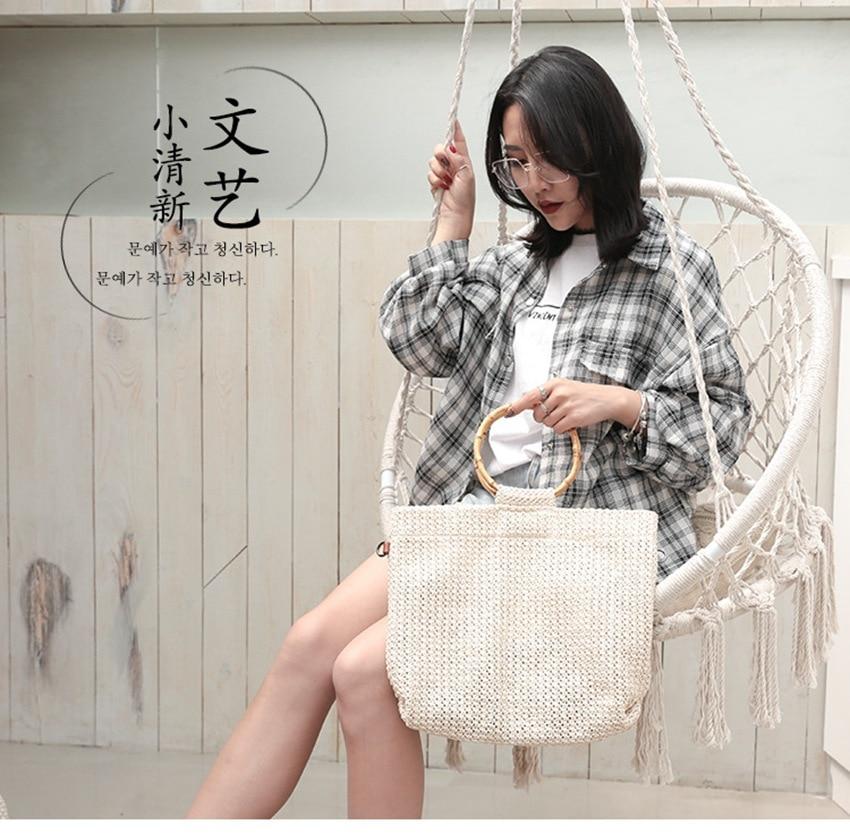 Épaule Coréen Main Nouveau Japonais Des Femmes Pêche Et Huang Vacances Tissé Messager De xi Bai Sac À Creux Net ka Unique Bambou Zong 2019 Fei mi Se wZ75xtw