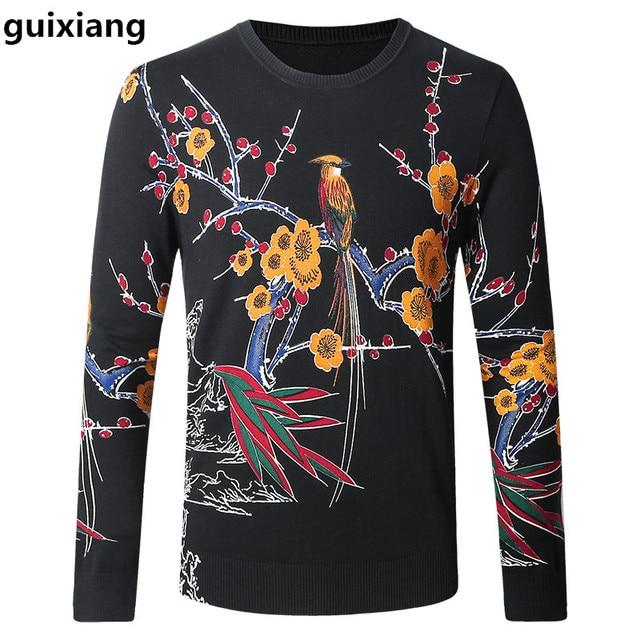 96af582df545 Neue stil 2017 Frühling und Herbst männer pullover freizeit stricken vogel  muster farbe herrenmode wollpullover großen