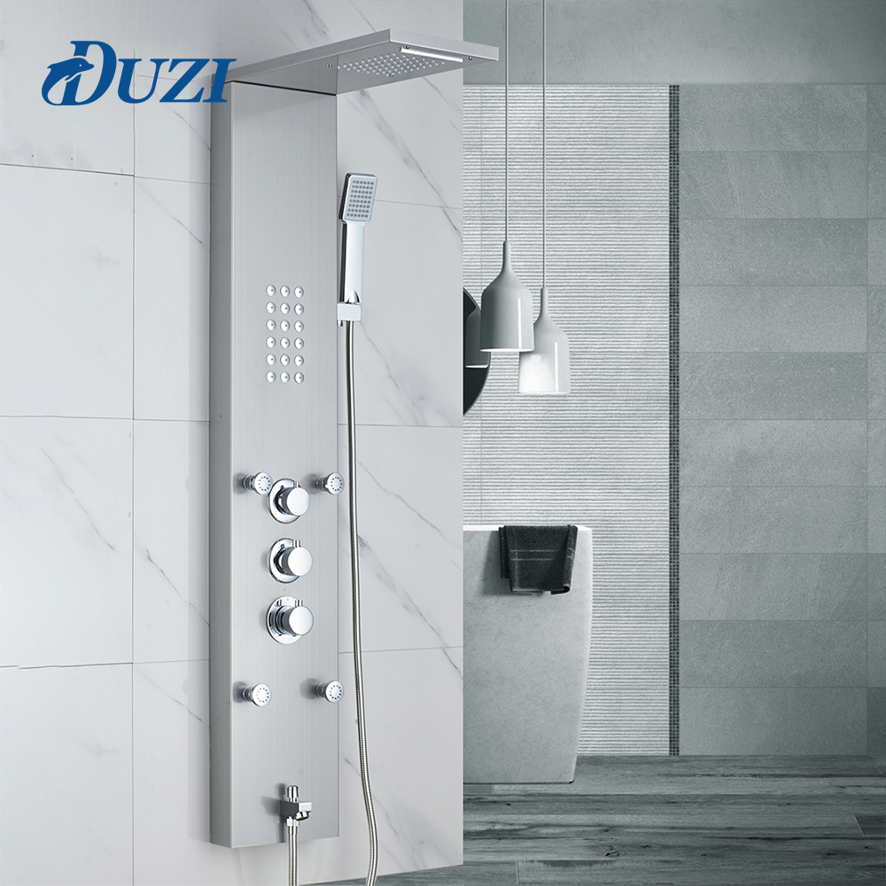 DUZI Rain Waterfall Shower Panel 4pc Massage Jets Thermostatic Shower Faucet Set with Hand Shower Tub Spout Tower Shower Column