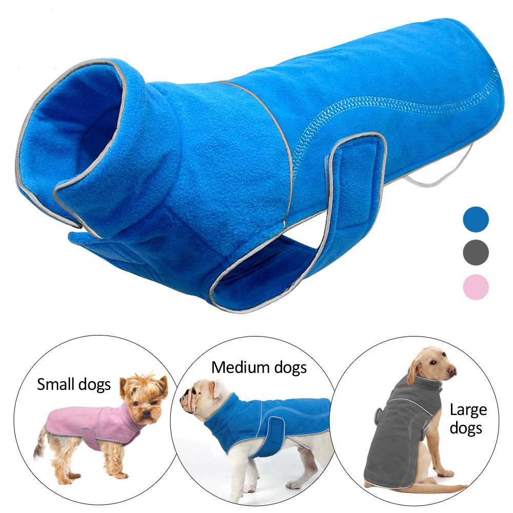 Winter Fleece Dog Coat Jacket For Små Hunder Chihuahua Pug Warm Puppy Large Dogs Vest Klær Reflekterende Roupa Cachorro S-5XL
