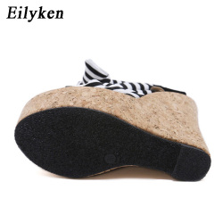 Eilyken 2019 New Designer Cotton Fabric Summer Roman Sandals High Quality Wedges High Heels Sexy Peep-Toe Platform Shoes Woman 11