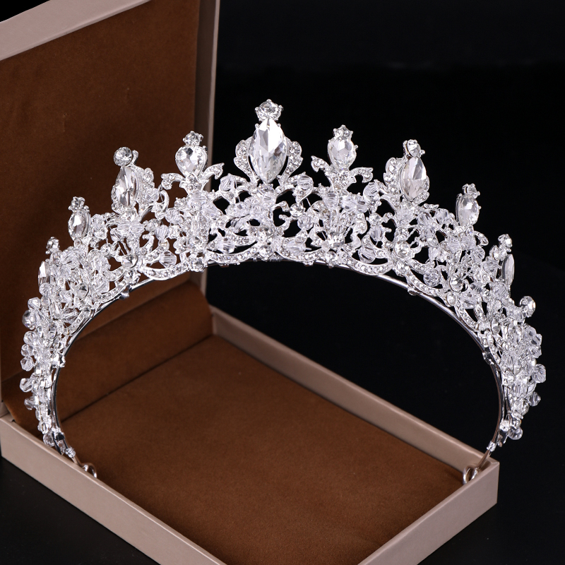 Rhinestone Crown and Tiaras Wedding Bride Tiara Queen Rhinestone Crystal  Crown Bridal Hair Jewelry Head Adornment