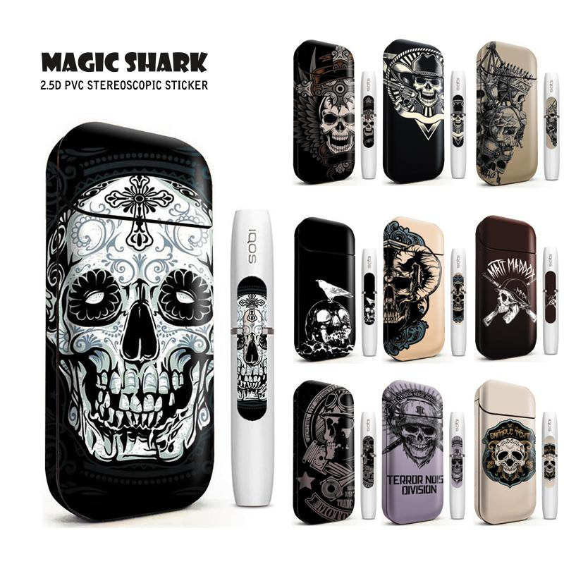 Magic Shark Bumpy Skull Western Jean Sticker For IQOS 2.4 Plus Printing Label Sticker Skin Case Cover For IQOS 2.4 Plus