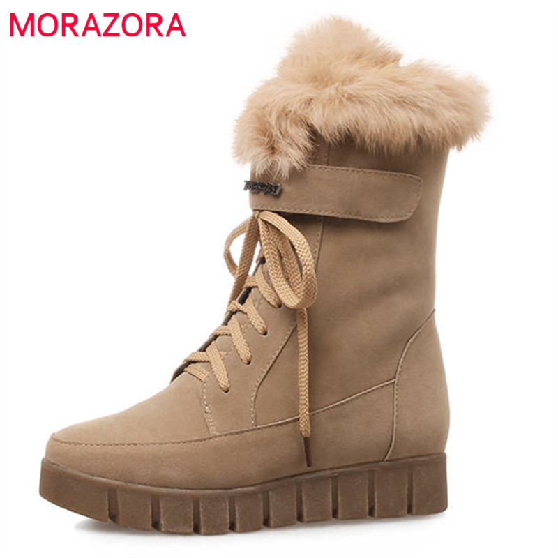 MORAZORA 2018 big size 33-43 mid calf boots women round toe flock winter snow boots lace up flat platform shoes woman цена