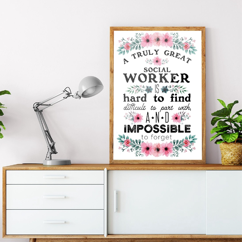 Great Social Worker Gift Appreciation Print And Poster Goodbye Work Inspirational Quote Canvas Painting Office Wall Art Decor image