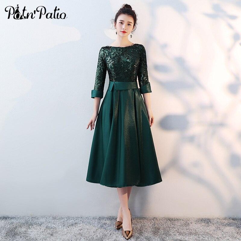 Green Medium Long Mother Of The Bride Dresses Plus Size 2018 New Sequined Tea Length Elegant