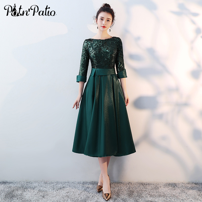 Green Medium Long Mother Of The Bride Dresses Plus Size 2018 New Sequined Tea-Length Elegant Formal Long Dresses With 3/4 Sleeve