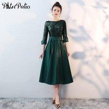 7b9f7c79d Verde largo medio de Madre de la novia vestidos Plus tamaño 2018 nuevo con  lentejuelas de longitud de té elegante Formal vestido.