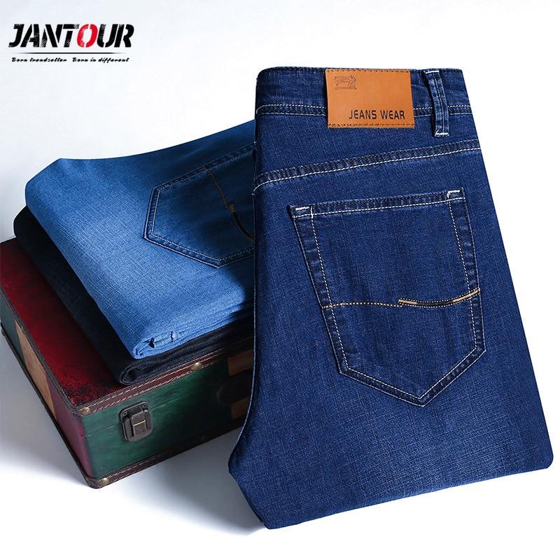 2019 New Men's Thin Light   Jeans   Business Casual Stretch Slim Denim   Jeans   Light Blue Trousers Male Brand Pants Plus Size 28-40