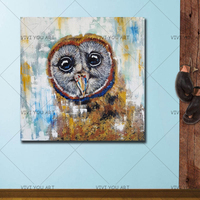 100% Handmade Abstract Animal Owl Oil Painting on Canvas Modern Style Wall Art Animal Picture Loverly Owl Picture Wall Painting