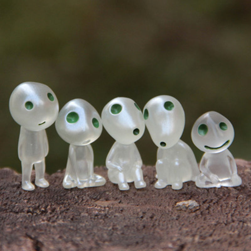 2016 New Arrival 5pcs/set Luminous Tree Elves Toy Miyazaki Cartoon Princess Mononoke Action Figure Toys Kids Gifts Wholesale