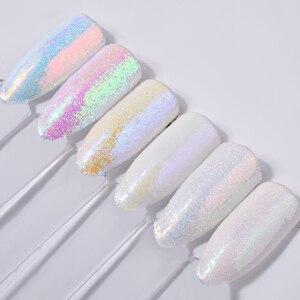 Image 3 - 6pcs/set Unicorn Aurora White Sequins Nail Art Glitter Powder Mermaid Dust Small Flakes Decorations For DIY Nails Glitters