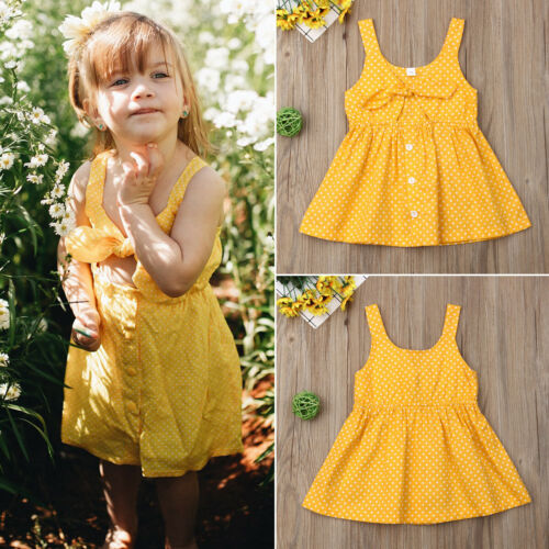Cute Summer Toddler Kids Baby Girl Summer Dress Sleeveless Princess Party Dresses Clothes