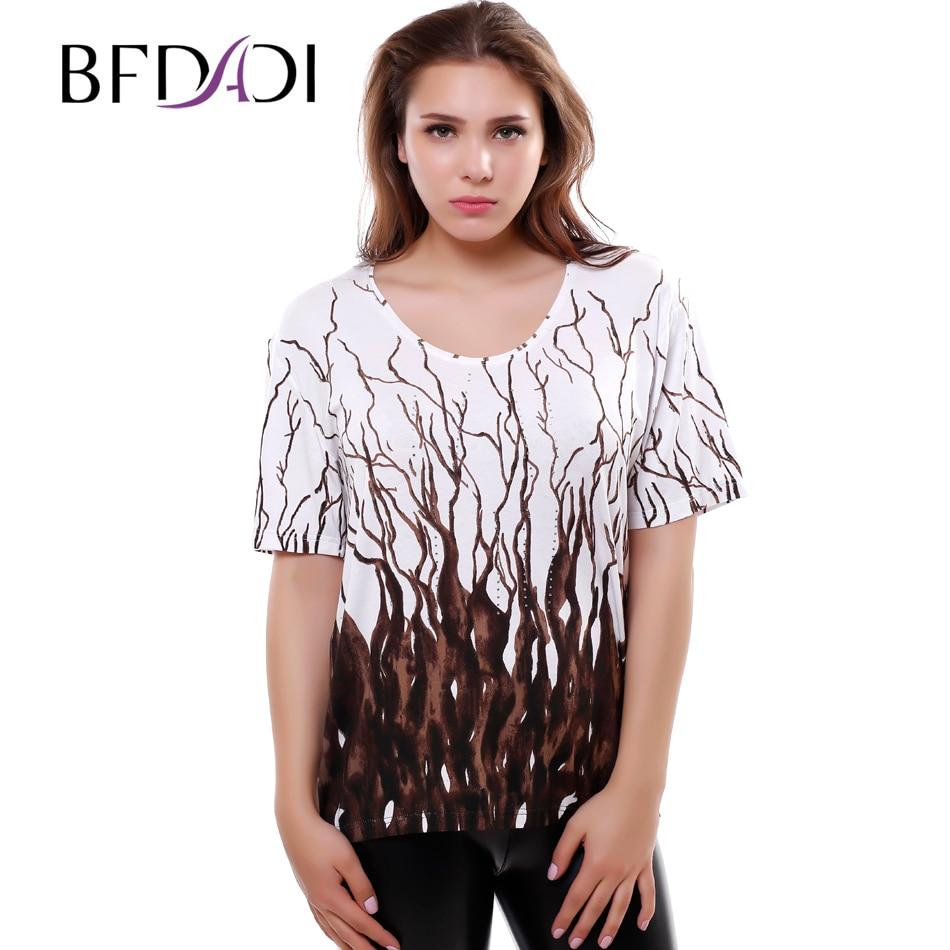 Bfdadi más tamaño Camisetas para las mujeres 2016 verano casual mujeres de  gran tamaño Camisetas tamaño libre mujeres Tops camiseta 391093 cae7ca014015