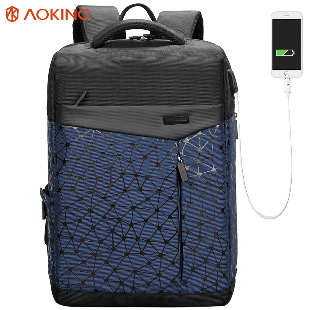 Aoking Водонепроницаемый Для мужчин рюкзак с анти-вор карман зарядка через USB Колледж студентов сумка для ноутбука Рюкзак городской моды школь...