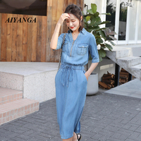 AIYANGA 2019 Plus Size Denim Dress Women Summer Short Sleeve Elastic Waist V neck Dresses Casual Loose Jeans Dress