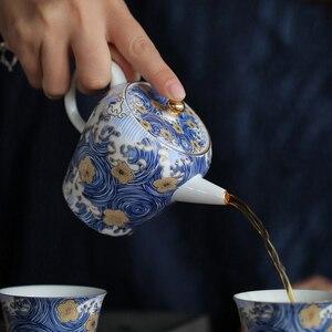 """Image 3 - PINNY théière en porcelaine, """"nuit étoilée"""", théière Kung Fu chinois en porcelaine de 150ml, Service à thé peint à la main de haute qualité"""