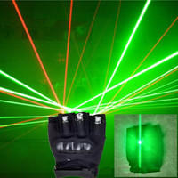 Super Bright Disco 2 Pcs Red 1Pcs Green Lasers Gloves With Led Green Palm Light For