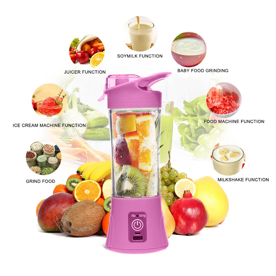 все цены на 400ML MINI Juicer Rechargeable Multi-function Electric Juice Cup Home Portable Juice Cup Fruit juicer Machine онлайн