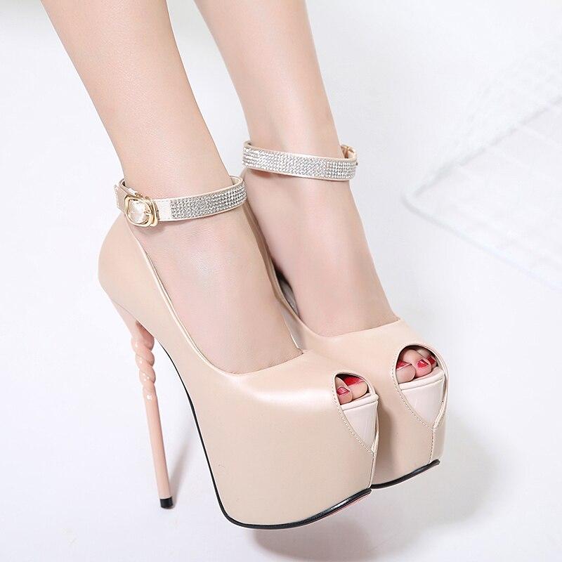 ФОТО rhinestone pumps 2017 extreme high heel Pumps Women dress party Shoes peep Toe Platform Pumps Shoes nude pumps summer shoes X378