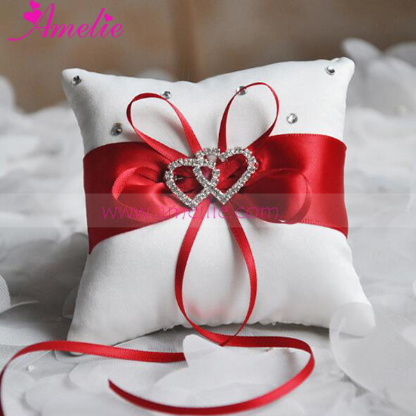 Wedding Decoration Accessory Handmade Bridal Ring Pillow Dual Hearts Rhinestone Flower Holder 15 15cm In Party Diy Decorations