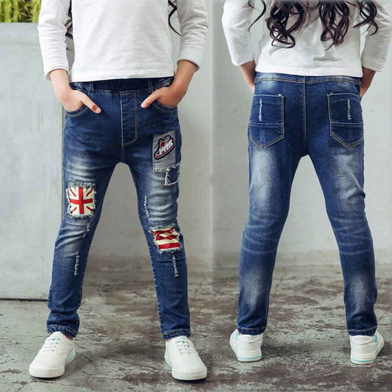 Gifts children. spring and autumn kids clothing casual jeans pants, Cartoon image girls fashion jeans , girl ripped jeans.