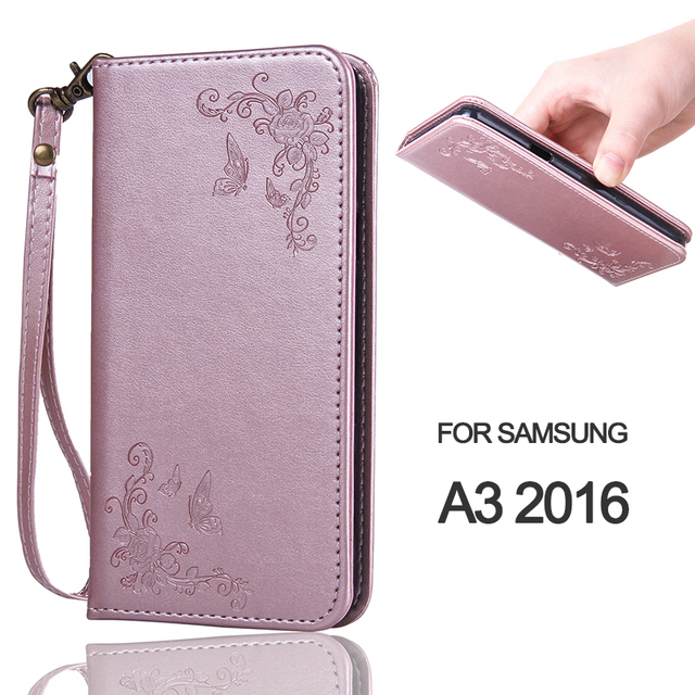 Wallet Case For A3 2016 Rose Flower Butterfly Magnetic Flip Leather Phone Case For Samsung Galaxy A310