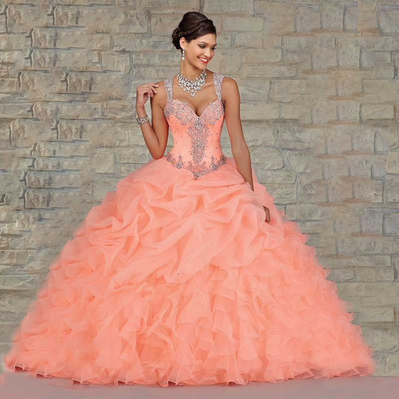 af2a32e23b3 Sweet 16 Coral Ball Gown Quinceanera Dresses 2016 Custom Crystals