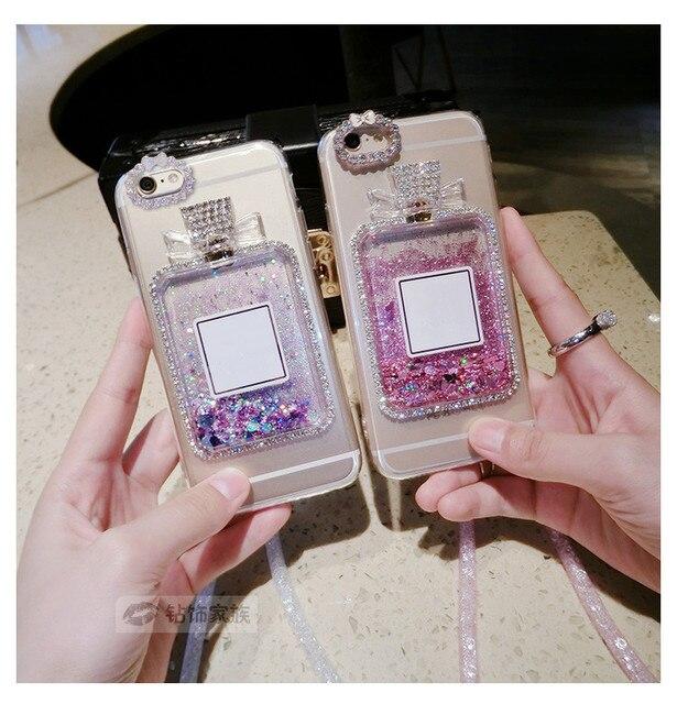 MarchCover for Samsung Galaxy A3 A5 A6 A7 A8 Plus Diamond Perfume Bottle Dynamic Quicksand Paillette Heart Liquid case