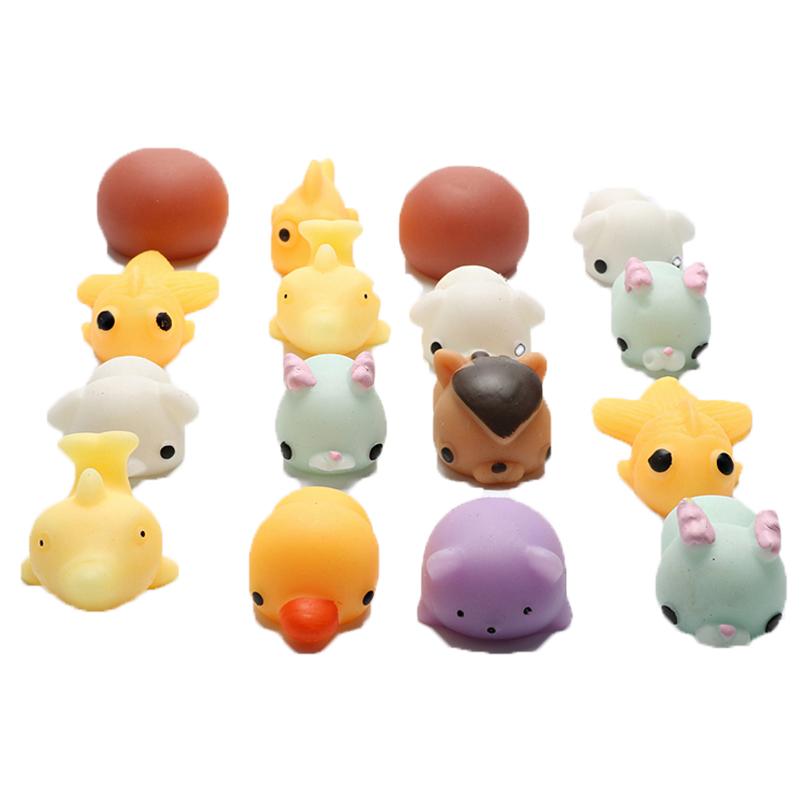 Squishy Stretchy Animals : 16pcs/lot PVC Cartoon Animals Squishy Toy Soft Squeeze Stretchy Slow Rising Cute Pig Seal Arti ...