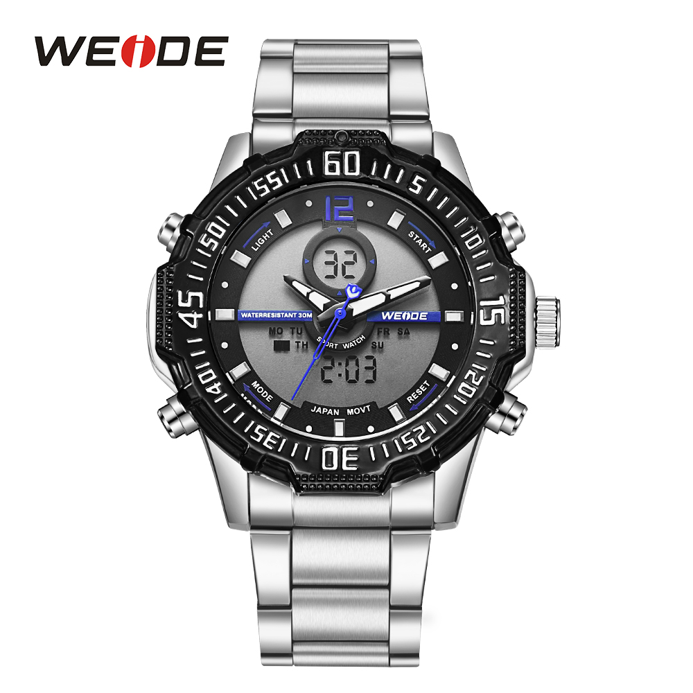 WEIDE Men Sport Analog Digital LCD Back Light Chronograph Alarm Quartz Day Band Strap Stainless Steel Day Wristwatch For Men weide casual genuin brand watch men sport back light quartz digital move t silicone waterproof wristwatch multiple time zone