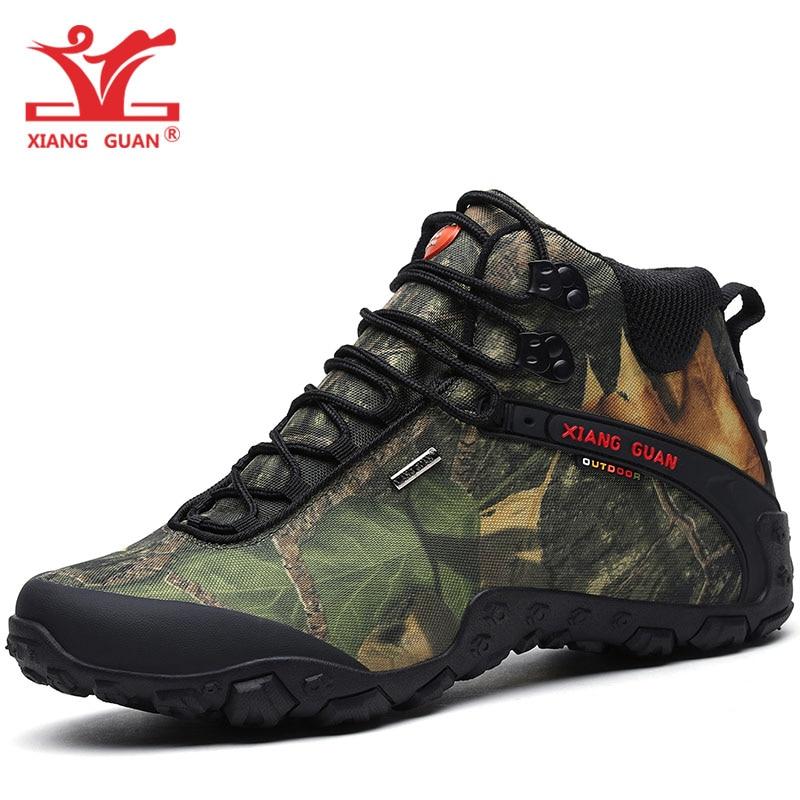 XIANG GUAN Men Hiking Shoes Women Waterproof Trekking Boots High Top Black Camouflage Sports Climbing Outdoor