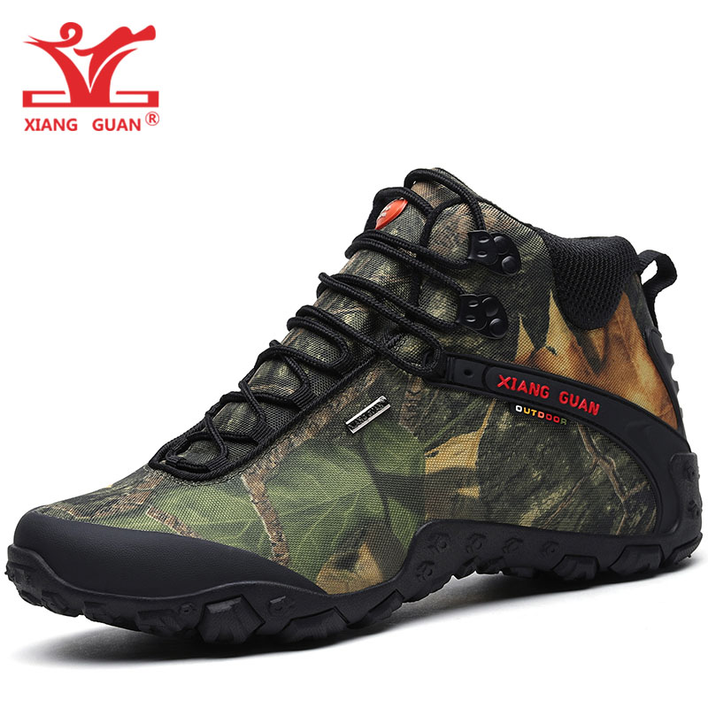 XIANG GUAN Man Hiking Shoes Men Waterproof Trekking Boots High Top Black Camouflage Sport Climbing Shoe Outdoor Walking Sneakers цена