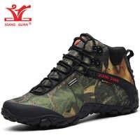 Zapatos de senderismo XIANG GUAN para hombre, botas de Trekking impermeables para mujer, zapatillas de deporte de camuflaje negro de alta calidad para escalada al aire libre 8