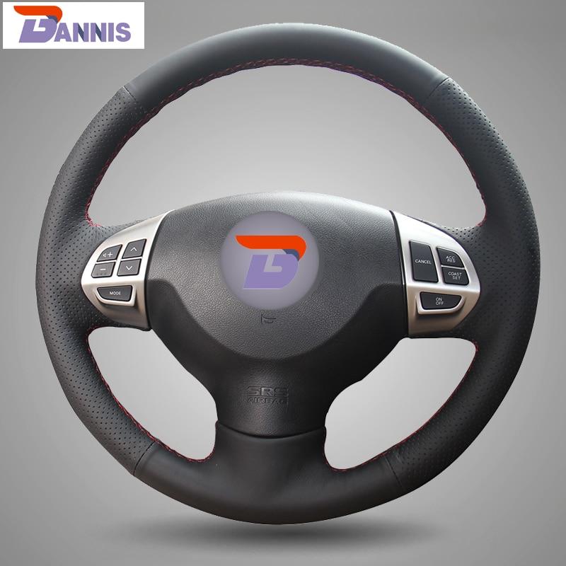 BANNIS Black Artificial Leather DIY Steering Wheel Cover for Mitsubishi Lancer EX 10 Lancer X Outlander