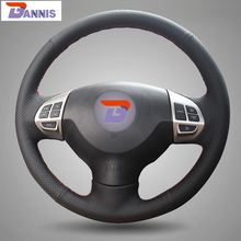 BANNIS Black Artificial Leather DIY Steering Wheel Cover for Mitsubishi Lancer EX 10 Lancer X Outlander ASX Colt Pajero Sport