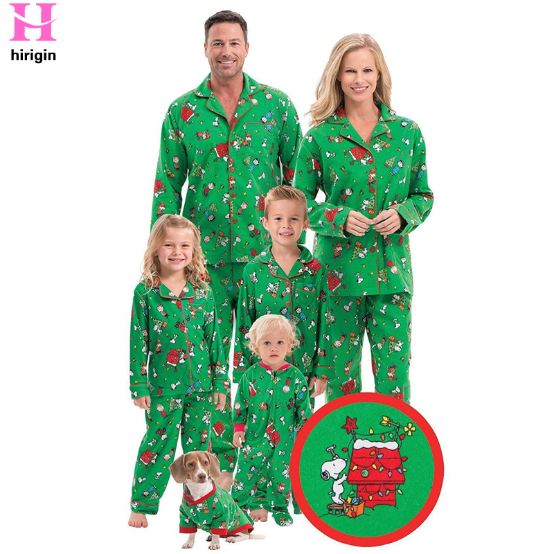 HIRIGIN 2017 Winter Family Pajamas Set New Christmas Family Matching Pajamas Set Parents Kids Baby Sleepwear Pyjamas Family Look