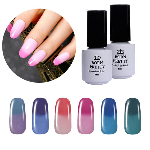 6 Bottles BORN PRETTY Nail Gel Polish 5Ml Temperature Color Changing Thermal Soak Off Nail UV Gel Polish Manicure 7-12
