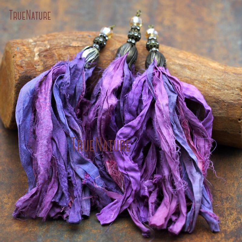 Wholesale Boho Long <font><b>Sari</b></font> <font><b>Silk</b></font> <font><b>Tassel</b></font> Findings Clear Rhinestone Pave Electroplating Bronze <font><b>Tassel</b></font> Tulip Cap In 7.5 inch PT7550 image