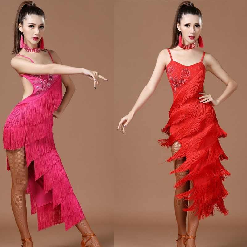Костюмы для ча-ча, танцевальные женские платья с бахромой и блестками для Бальных соревнований, сексуальное женское платье для латиноамериканских танцев, танго для взрослых
