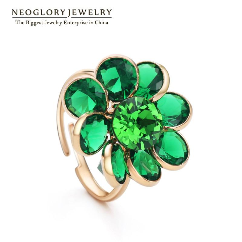 Neoglory flor diseño verde circón anillos de dedo para las mujeres ...