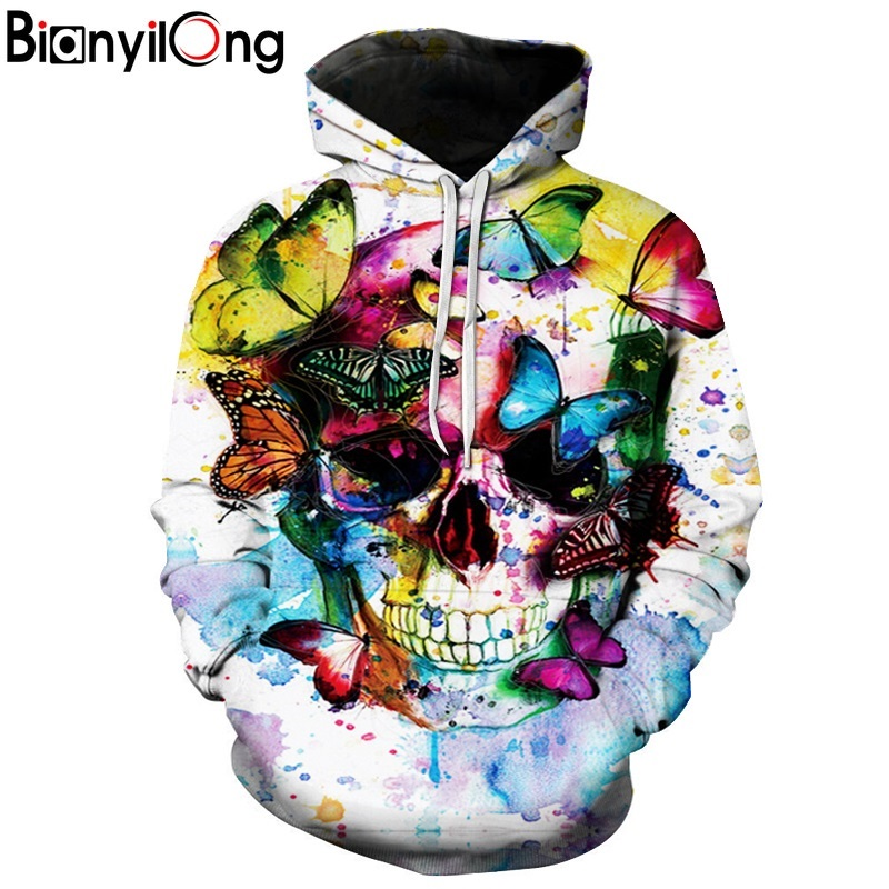 BIANYILONG New Fashion Men/Women 3d Sweatshirts Print Color butterfly skull Hoodies Autumn Winter Thin Hooded Pullovers Tops