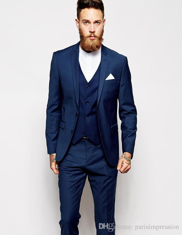 Online 2018 New Arrival Men Tuxedos Blue Wedding Suits For 3 Pieces Slim Fit Moning Groms Groomsmen K2 Aliexpress Mobile
