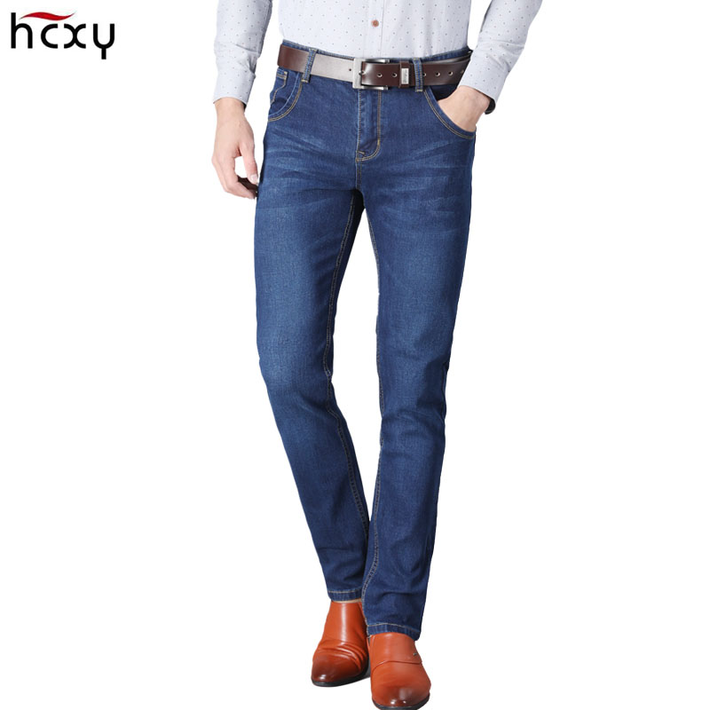 HCXY brand 2019 New Men's   Jeans   Business Casual Straight Blue Denim Pants Stretch   Jean   Trousers Classic Denim Trouses