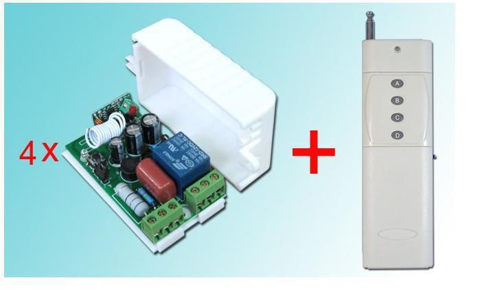 ФОТО AC 220 V 1 CH RF Wireless Remote Control Switch System 220v 1 Transmitter and 4 Receiver
